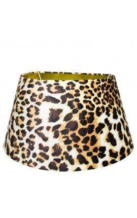 Leopard velvet lampshade and golden interior 45 cm in diameter