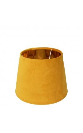 Abat-jour en velours miel et intérieur doré 25 cm de diamètre