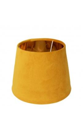 Abat-jour en velours miel et intérieur doré 30 cm de diamètre
