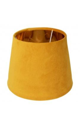 Abat-jour en velours miel et intérieur doré 45 cm de diamètre