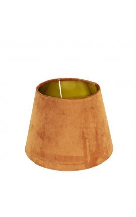 Abat-jour en velours orange et intérieur doré 25 cm de diamètre
