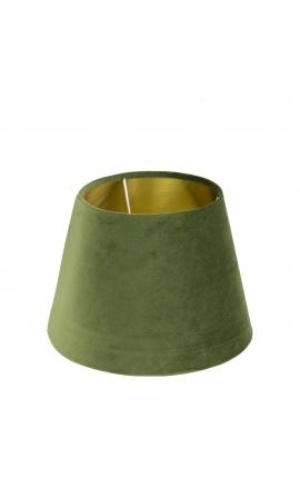 Green velvet lampshade and golden interior 25 cm in diameter