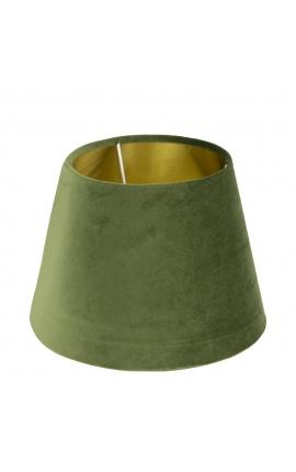 Green velvet lampshade and golden interior 30 cm in diameter