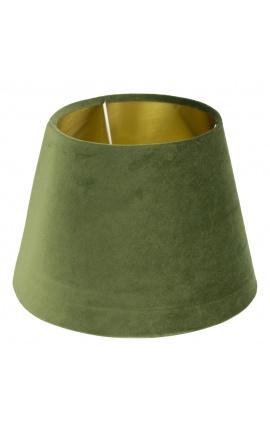 Abat-jour en velours vert et intérieur doré 45 cm de diamètre