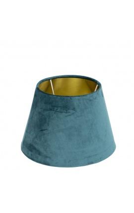 Abat-jour en velours bleu pétrole et intérieur doré 25 cm de diamètre