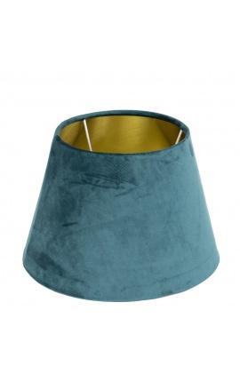 Abat-jour en velours bleu pétrole et intérieur doré 30 cm de diamètre
