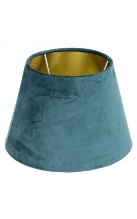 Abat-jour en velours bleu pétrole et intérieur doré 45 cm de diamètre
