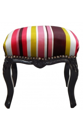 Baroque footrest Louis XV multicolor stripes and black lacquered wood