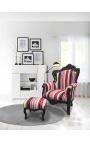 Grand fauteuil de style baroque rayé multicolore et bois noir