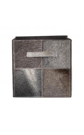Складной ящик для хранения из воловьей кожи серого цвета