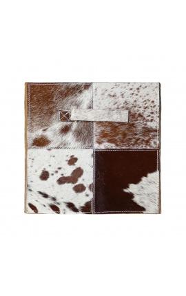 Складной ящик для хранения из коричневой и белой воловьей кожи