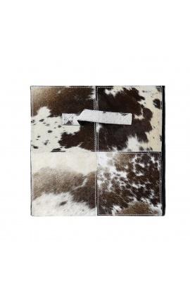 Черно-белый складной ящик для хранения из воловьей кожи