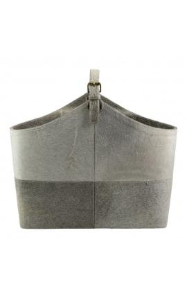 Gray cowhide handbag or magazine holder