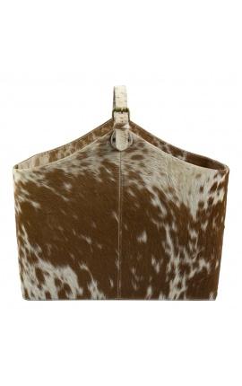Коричнево-белая сумочка или подставка для журналов из воловьей кожи