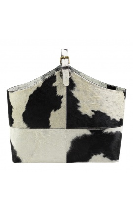 Sac à main (cabat) ou porte-revue en peau de vache noir et blanc