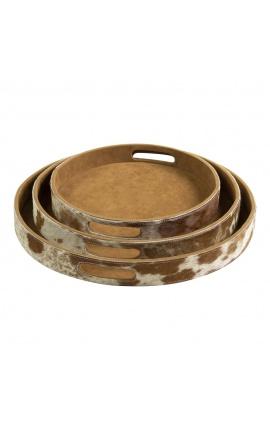 Круглые сервировочные тарелки из коричневой и белой воловьей кожи (набор из 3 шт.)