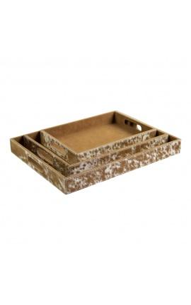 Коричнево-белые прямоугольные сервировочные тарелки из воловьей кожи (набор из 3 шт.)