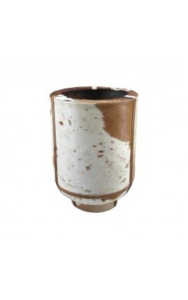 Цилиндрическая кашпо из коричневой и белой воловьей кожи 35 см