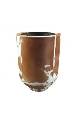 Jardinière cylindrique en peau de vache marron et blanc 46 cm