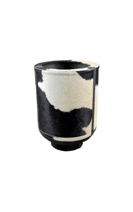 Jardinière cylindrique en peau de vache noir et blanc 35 cm
