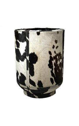 Jardinière cylindrique en peau de vache noir et blanc 46 cm