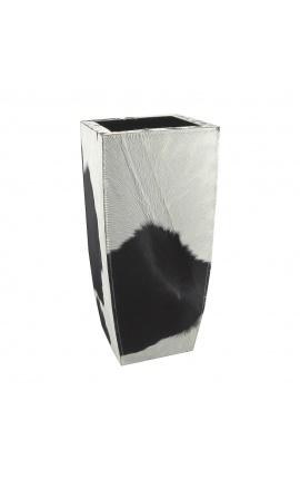 Кашпо из воловьей кожи черно-белое высотой 60 см