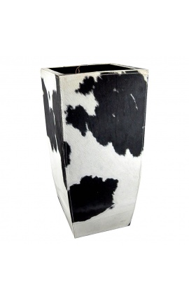 Jardinière en peau de vache noir et blanc 75 cm de haut