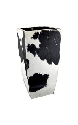 Кашпо из воловьей кожи черно-белое высотой 75 см