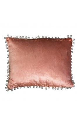 Rectangular rust-colored velvet cushion with tassels 35 x 45