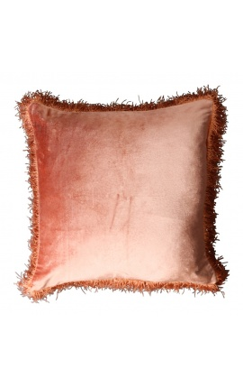Square cushion in rust-colored velvet with assorted fringes 45 x 45
