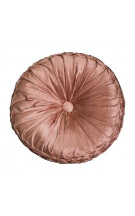Round rust-colored velvet cushion 40 cm diameter