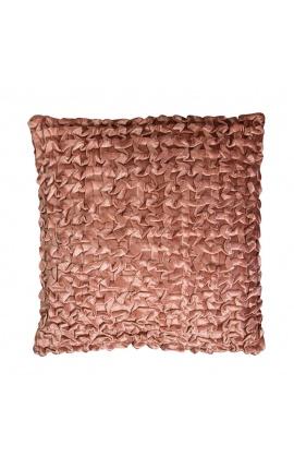 Coussin carré en velours smock couleur rouille 45 x 45