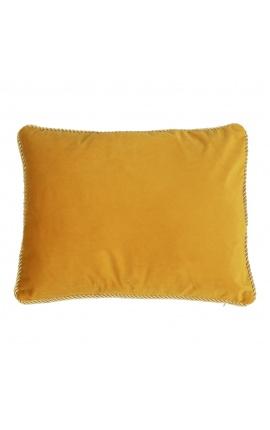 Coussin rectangulaire en velours couleur miel avec galon torsadé doré 35 x 45