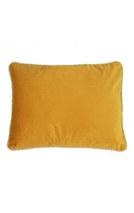 Rectangular cushion in honey color velvet with golden twirled trim 35 x 45