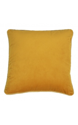 Square cushion in honey color velvet with golden twirled trim 45 x 45