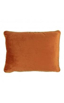 Rectangular cushion in orange color velvet with golden twirled trim 35 x 45