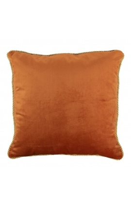 Square cushion in orange color velvet with golden twirled trim 45 x 45