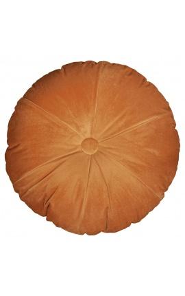 Round orange-colored velvet cushion 40 cm diameter