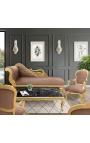 Fauteuil baroque de style Louis XV taupe et bois doré