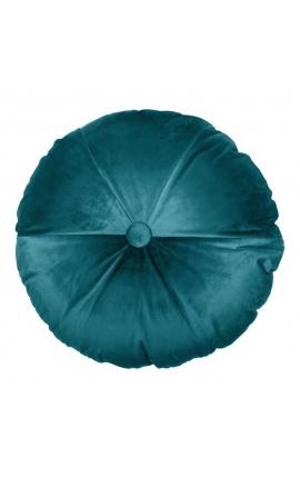 Round petrol blue colored velvet cushion 40 cm diameter