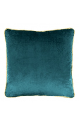 Square cushion in blue petrol color velvet with golden twirled trim 45 x 45