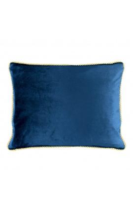 Rectangular cushion in navy blue color velvet with golden twirled trim 35 x 45