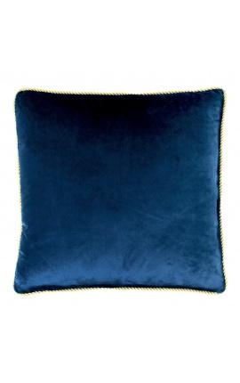 Квадратная подушка из темно-синего бархата с золотой витой тесьмой 45 x 45