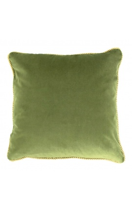 Square cushion in green color velvet with golden twirled trim 45 x 45