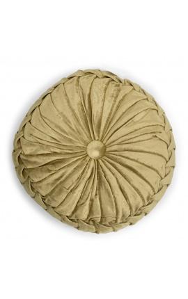Round gold-colored velvet cushion 30 cm diameter