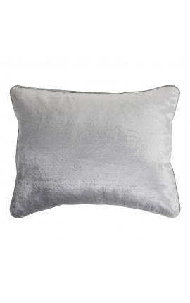 Coussin rectangulaire en velours couleur gris 35 x 45