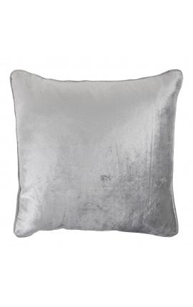 Square cushion in gray color velvet 45 x 45