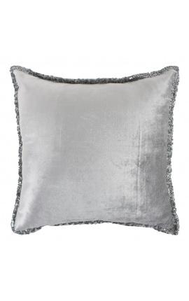 Coussin carré en velours couleur gris avec paillettes tout autour 45 x 45