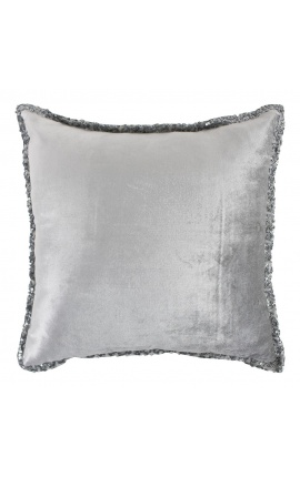 Square cushion in gray velvet with sequins all around 45 x 45