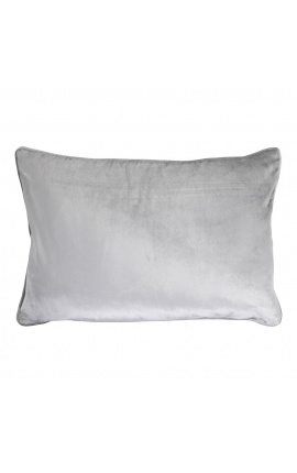 Grand coussin rectangulaire velours gris 40 x 60